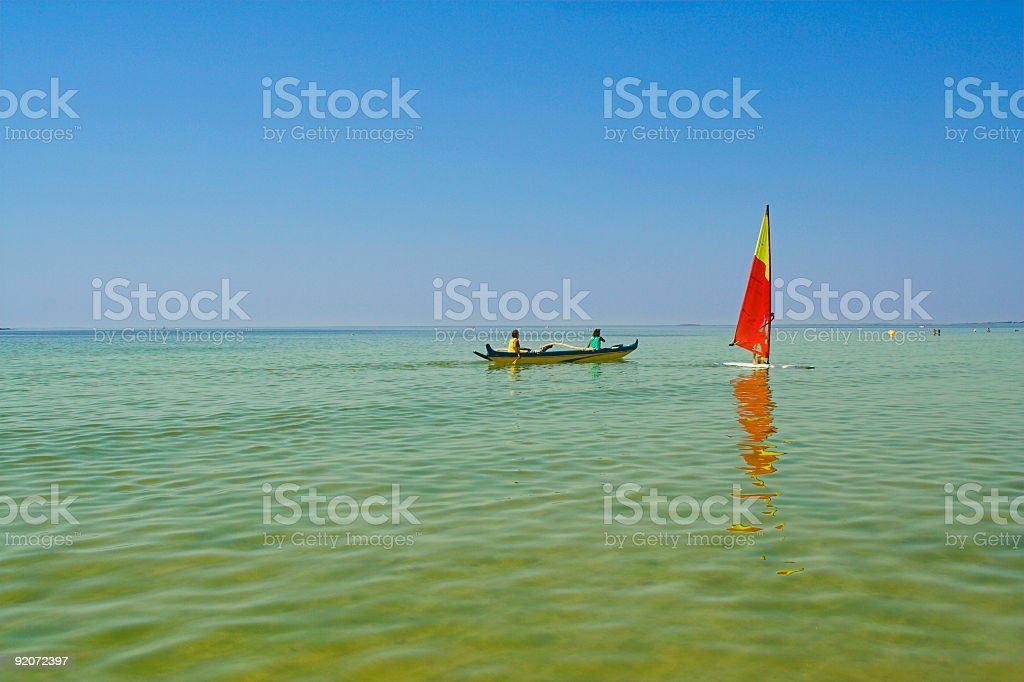 pirogue on water royalty-free stock photo