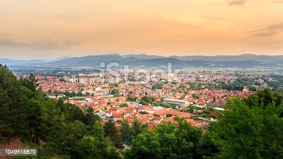 Golden hour sky over sunlit Pirot city in Serbia and green foreground trees
