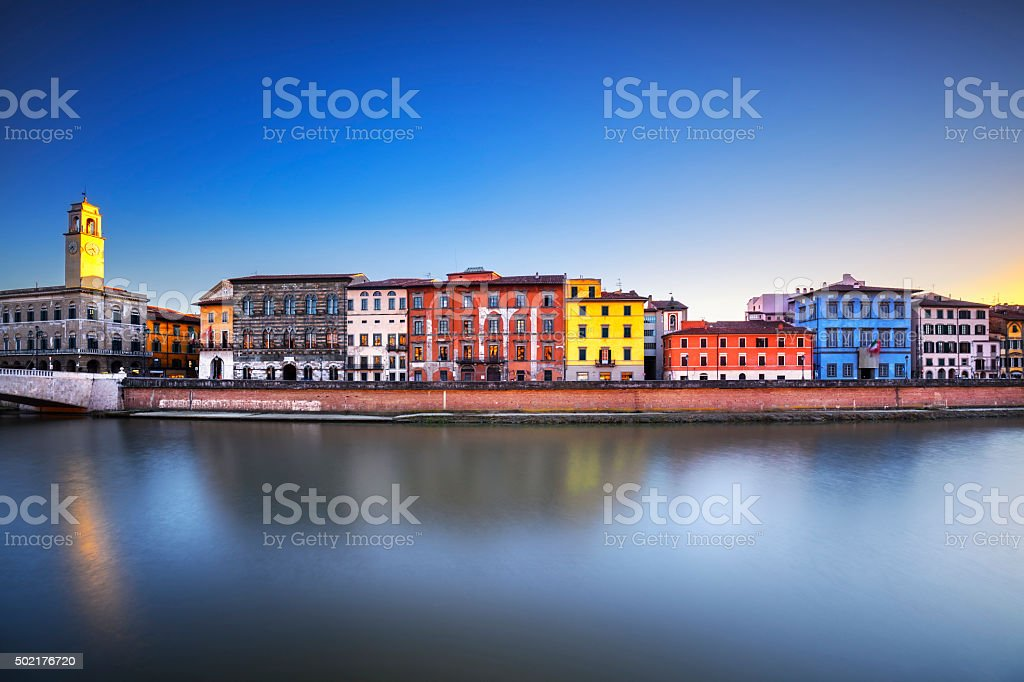Pisa, Arno river. Lungarno view. Tuscany, Italy stock photo
