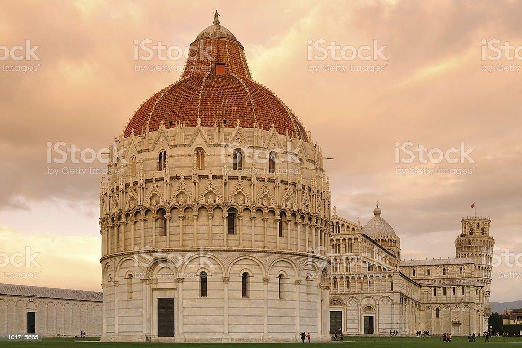 Pisa Batistero with Campanile Sunset Fall stock photo