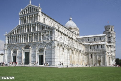 istock Pisa Campanile and Duomo Front with Visitors 89283695