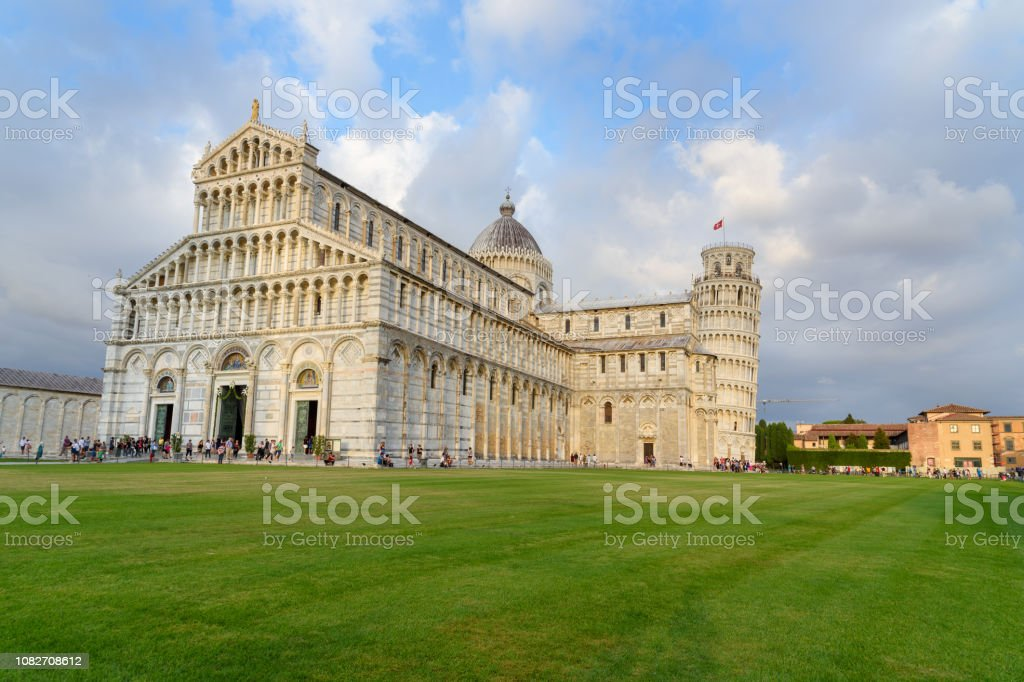 Pisa Cathedral and the Leaning Tower. Pisa, Italy. stock photo