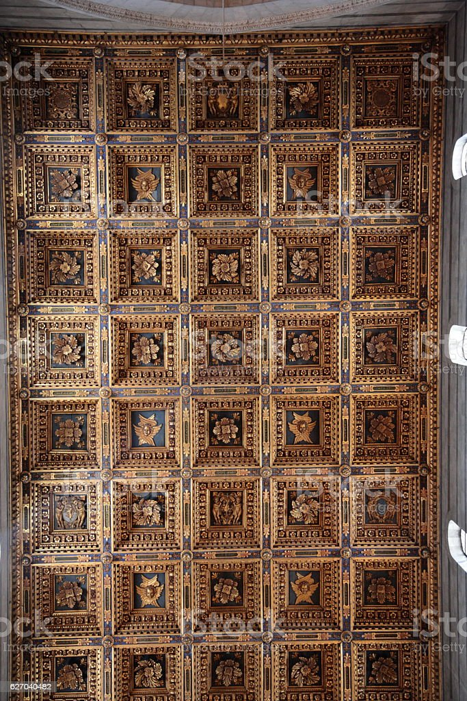Pisa Cathedral golden ceiling in Pisa, Italy stock photo