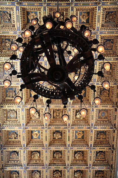 Pisa Cathedral golden ceiling with chandelier in Pisa, Italy Pisa Cathedral golden ceiling with chandelier in Pisa, Italy. The chandelier, today is still present and known as