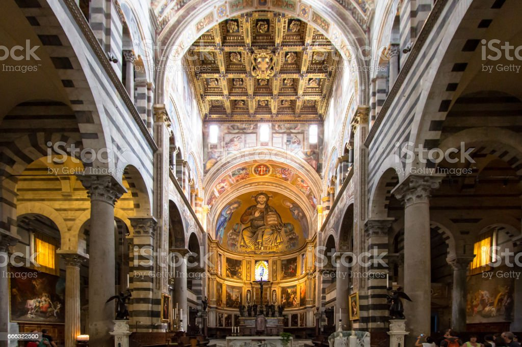 Pisa cathedral interior view, Italy stock photo
