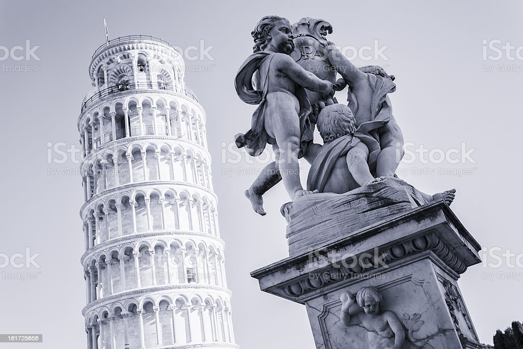 Pisa, Cherubs Statue and Leaning Tower royalty-free stock photo