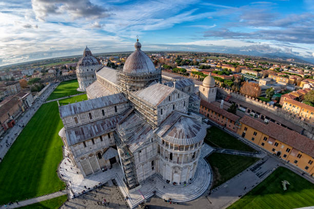 pisa dome aerial view from leaning tower famous piazza dei miracoli in pisa with dome aerial cityscape from leaning tower pisa stock pictures, royalty-free photos & images