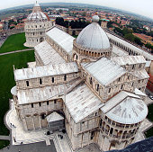Pisa Duomo aerial view with blue sky