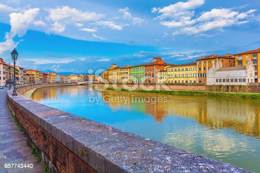 The church of Santa Maria della Spina in Pisa with the Arno River in Tuscany, Italy