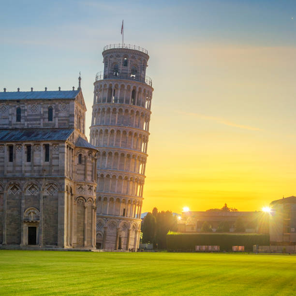 Pisa - Italy View of the Leaning Tower Pisa first light pisa stock pictures, royalty-free photos & images