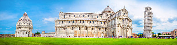 Pisa panorama, Italy. Leaning Tower of Pisa and the Pisa Cathedral in Piazza dei Miracoli, Pisa, Italy romanesque stock pictures, royalty-free photos & images