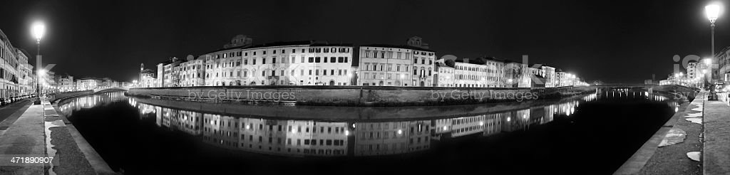 Pisa riverfront (Lungarno) by night - Tuscan scene stock photo