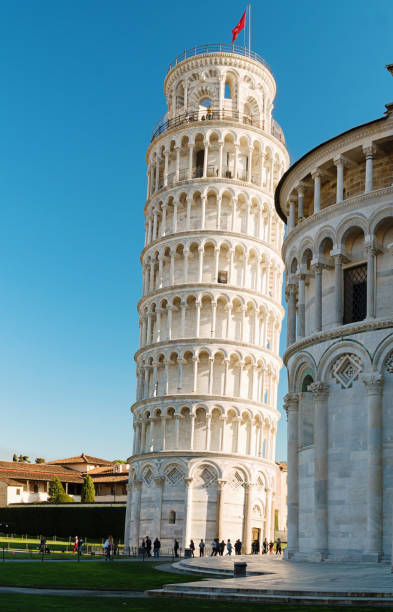 Pisa tower in sunny weather stock photo