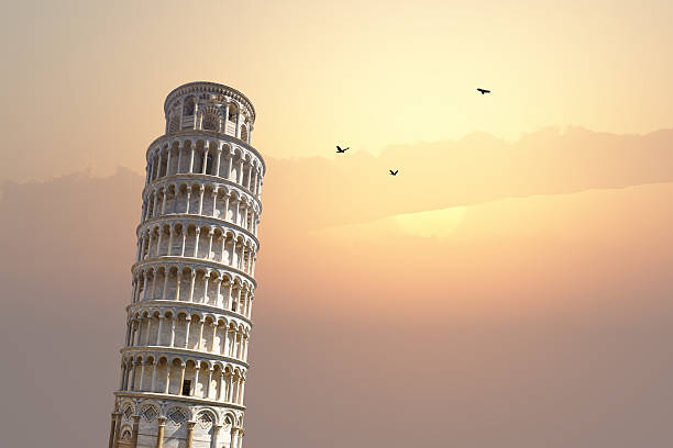 Pisa Tower View View of historical Pisa Tower in Cathedral Square of Pisa, Italy, on sunrise or sunset sky background. pisa stock pictures, royalty-free photos & images