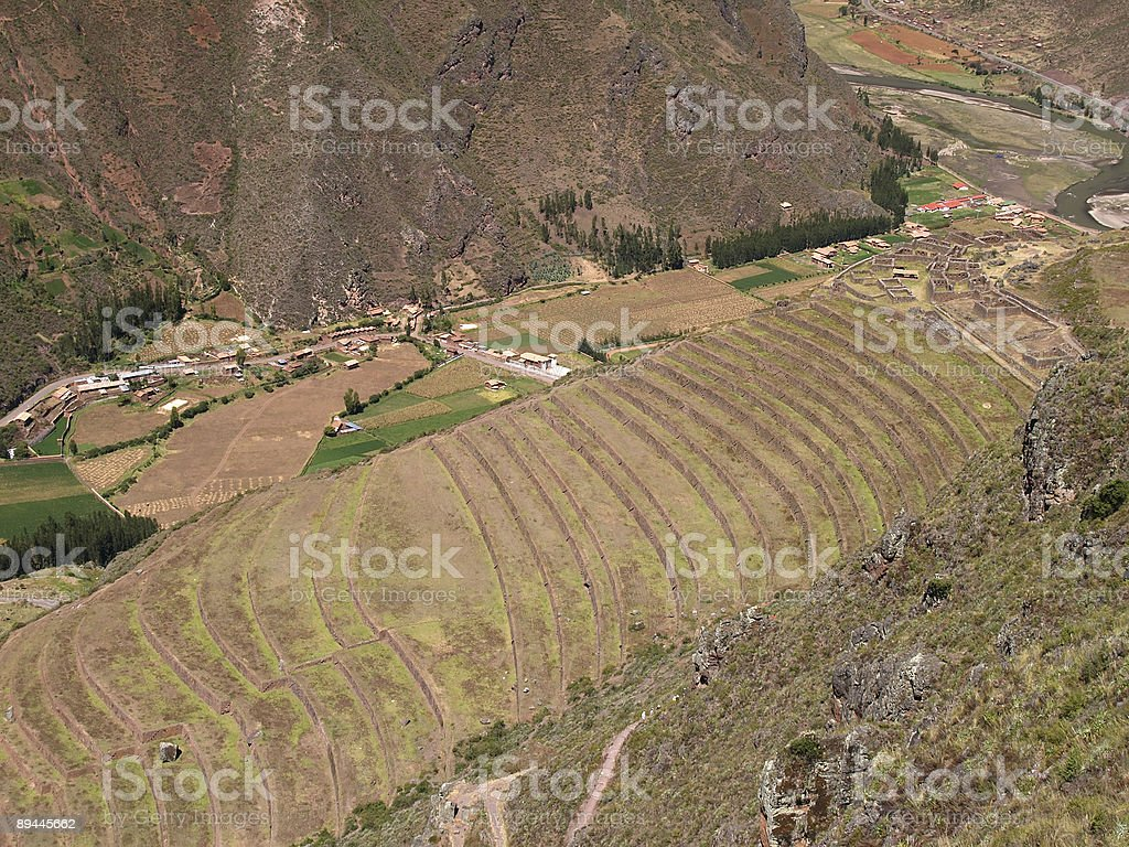 Pisac, Peruvian Terraced Landscape in the Sacred Valley royalty-free stock photo