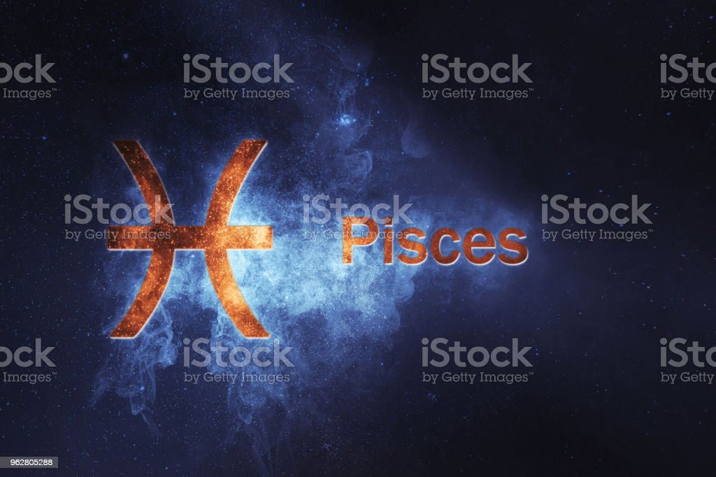 Pisces Horoscope Sign. Abstract night sky background - Foto stock royalty-free di Acqua