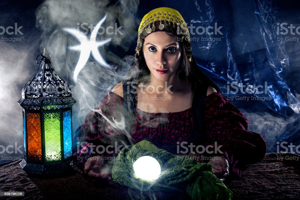 Pisces Horoscope Zodiac Sign with Psychic or Fortune Teller stock photo