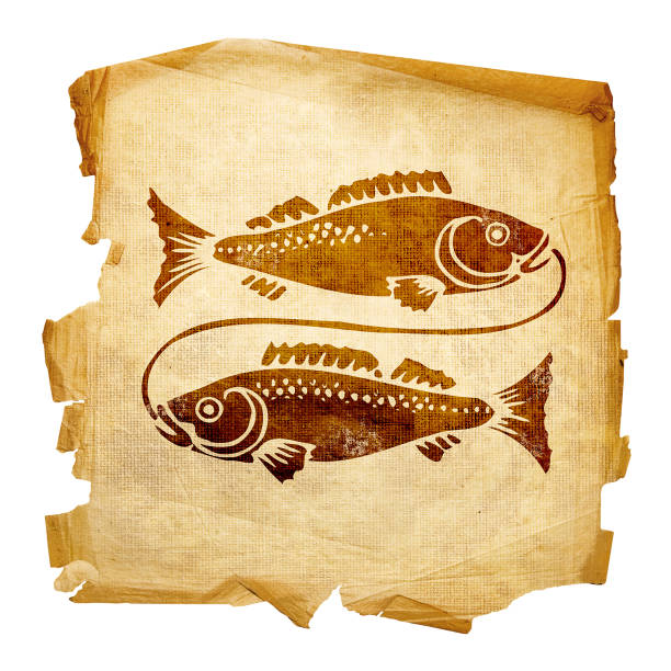 Fische zodiac alt, isoliert auf weißem Hintergrund. – Foto