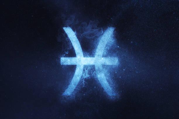 pisces zodiac sign . abstract night sky background - pesci foto e immagini stock