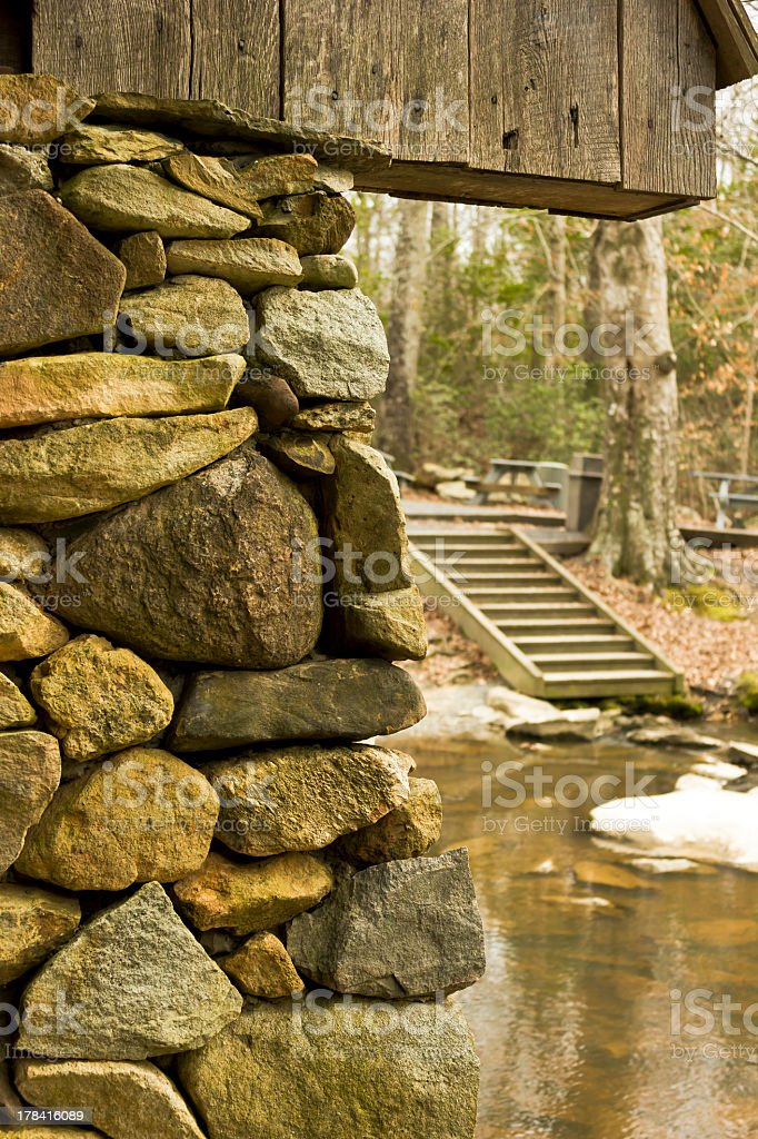 Pisgah Covered Bridge Pillar royalty-free stock photo
