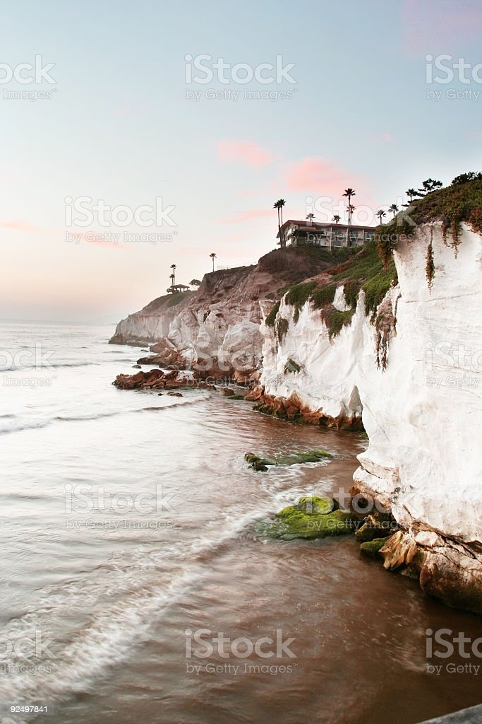 Pismo Beach with Pink Clouds royalty-free stock photo