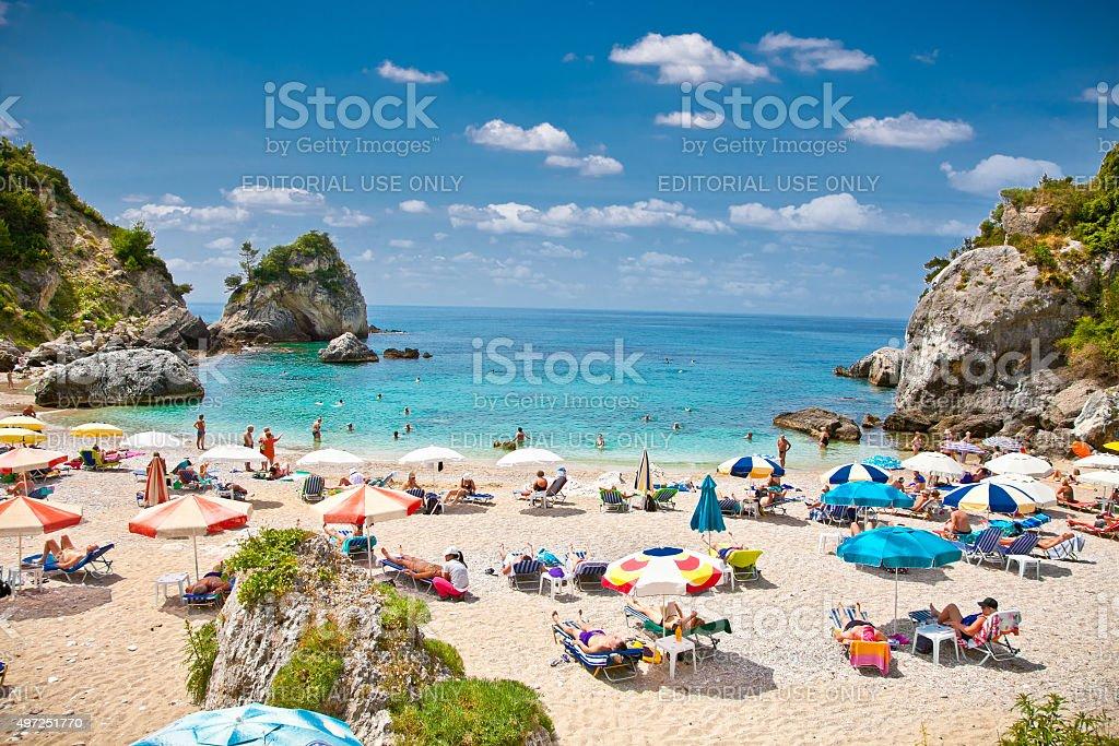 Piso Kryoneri beach in Parga town, Greece. stock photo