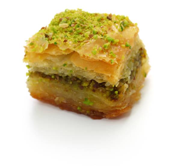 baklava pistache, fistikli baklava, dessert traditionnel turc, isolé sur fond blanc - Photo