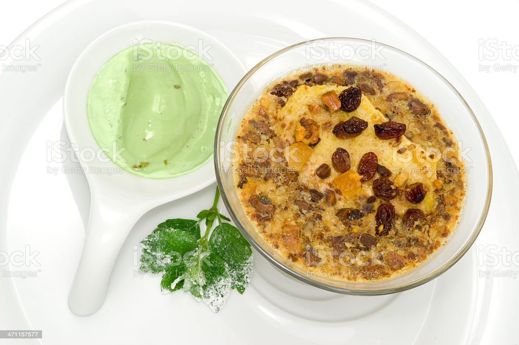 Pistachio ice cream and mousse royalty-free stock photo