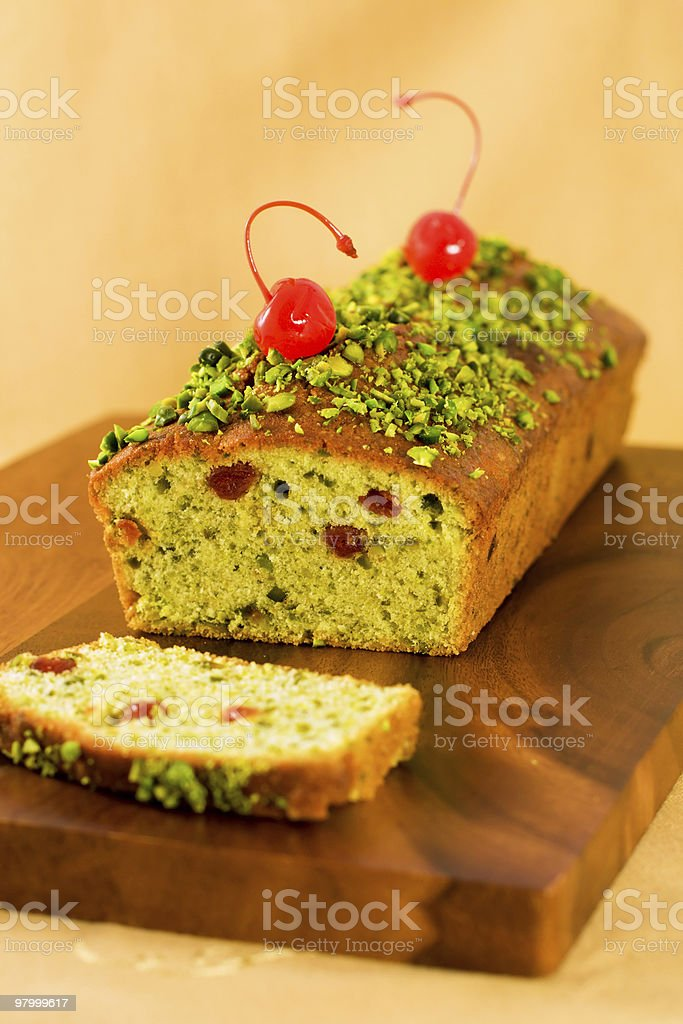 pistachio loaf cake royalty-free stock photo