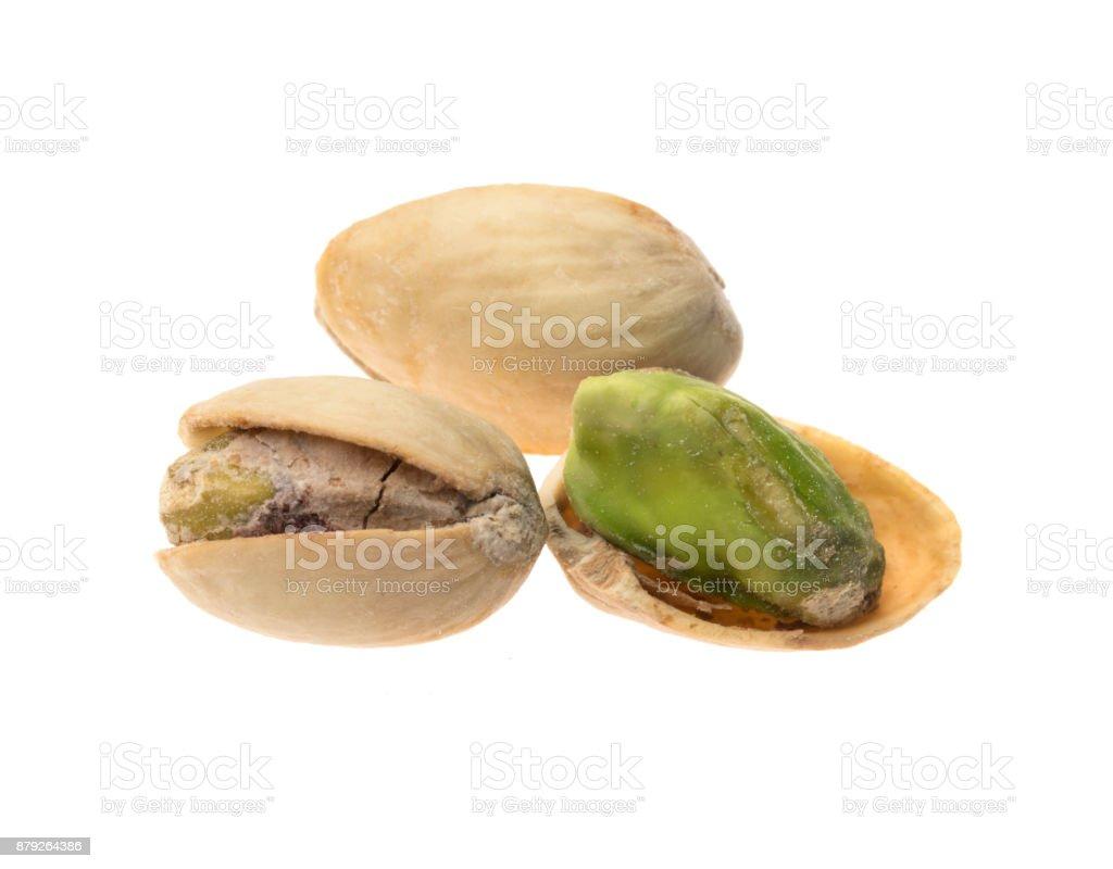 Pistachios on white background stock photo
