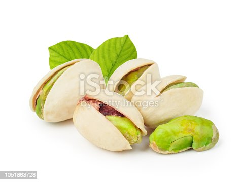 Pistachios with leaves isolated on white background as package design element