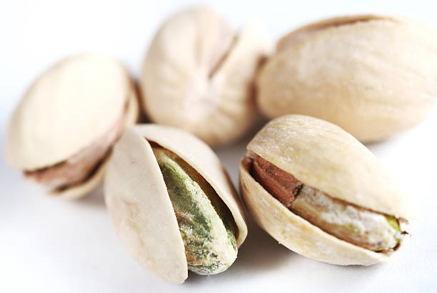 Pistachios with shells on stock photo