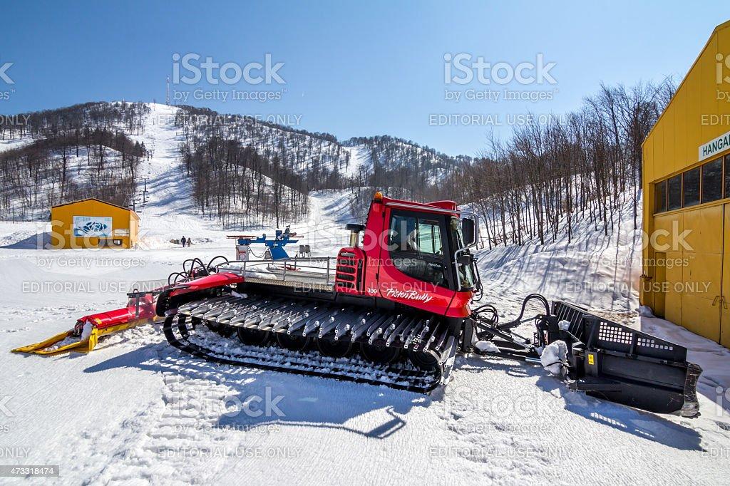Pistenbully Snow Plow Machine stock photo