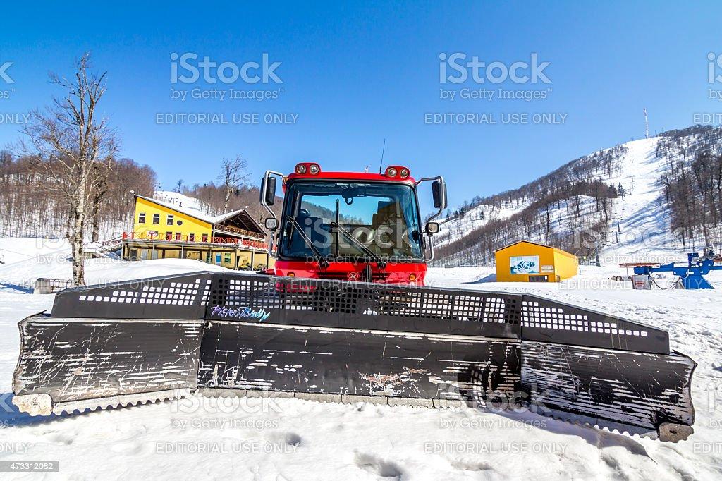 Pistenbully Snow Plow Vehicle stock photo