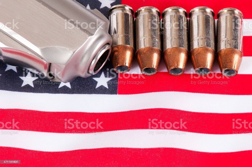 pistol and flag series stock photo