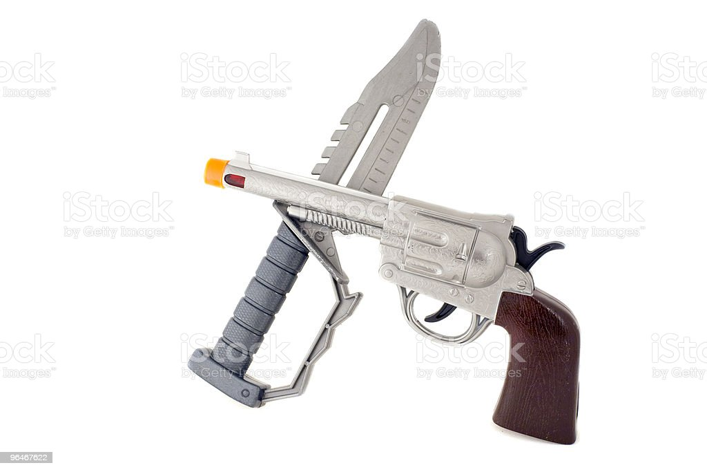Pistol and knife royalty-free stock photo