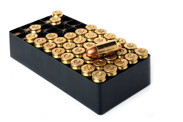pistol bullet pistol bullet in container ammunition stock pictures, royalty-free photos & images