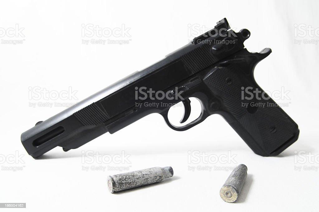 Pistol Gun and Bullets royalty-free stock photo