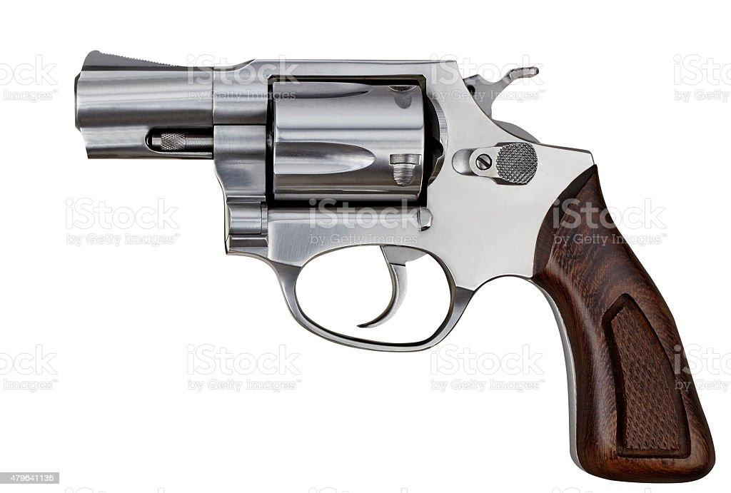 Pistola revólver arma de mano arma de fuego aislado sobre fondo blanco - foto de stock