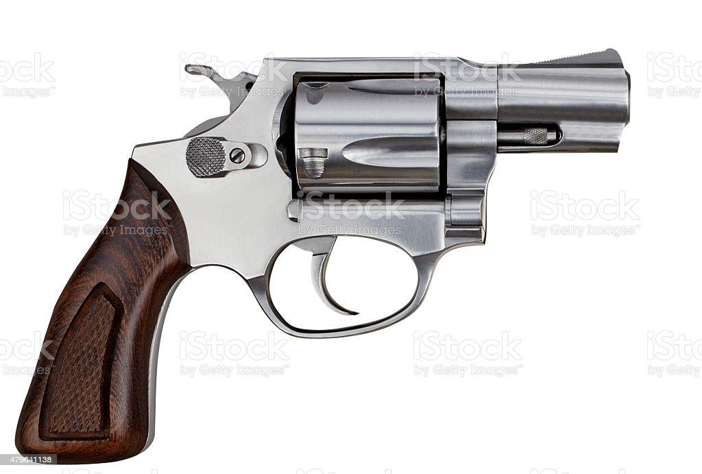 Pistola revólver arma de mano aislado sobre fondo blanco - foto de stock