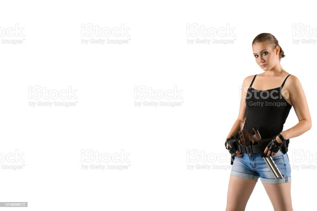 Pistol shooting on white background. Sportsman with a gun. Sport pistol shooting. stock photo