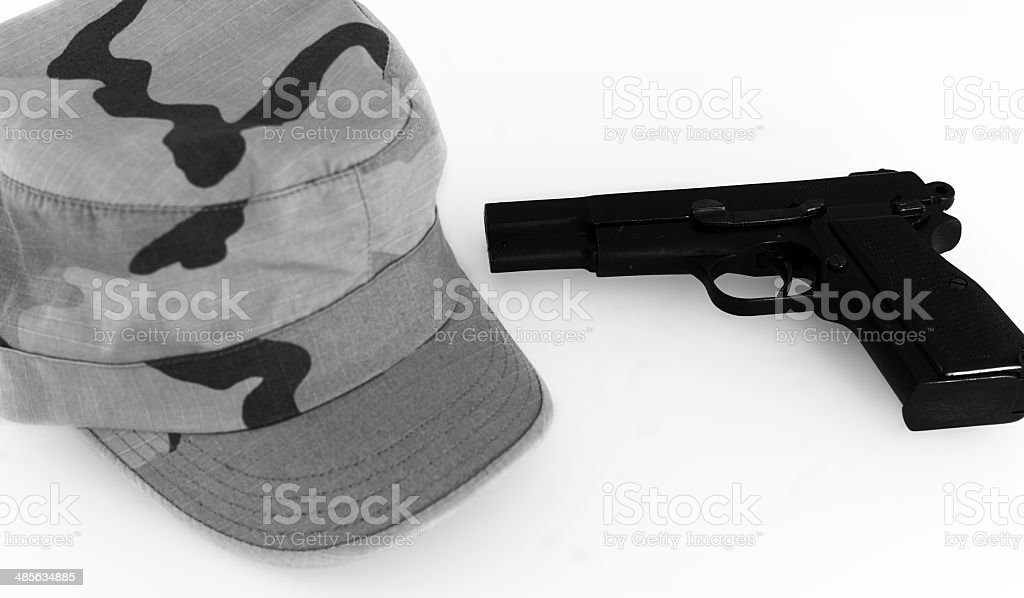 Pistol with cap. Black and White stock photo