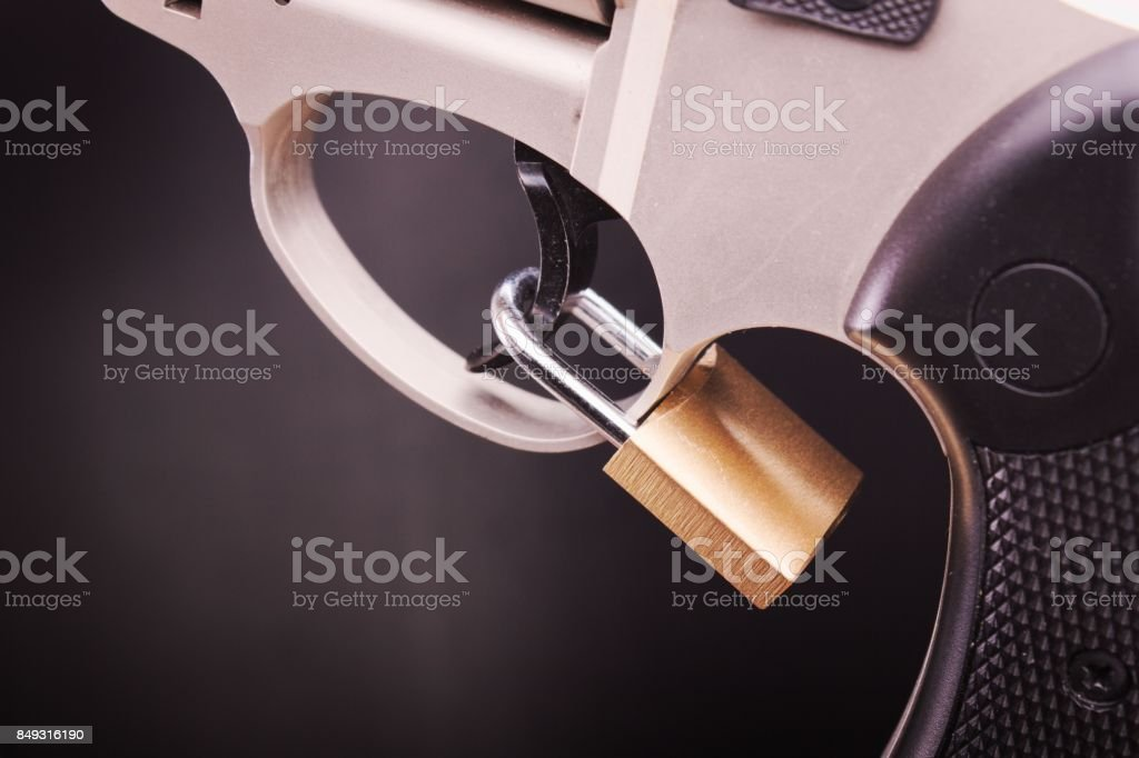 pistol with lock stock photo