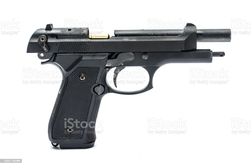 Pistol With Open Slide Isolated On White Stock Photo - Download