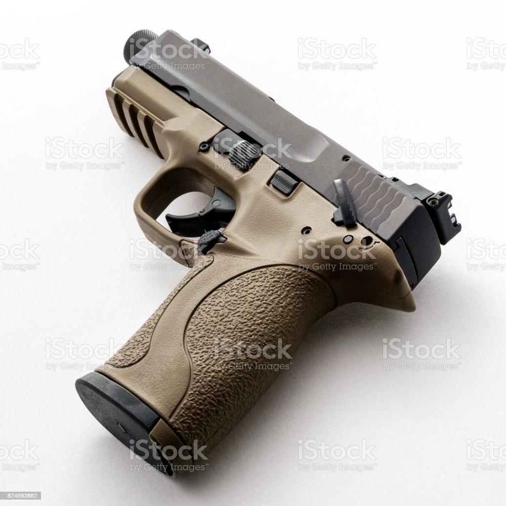 22 Pistol with Threaded Barrel stock photo