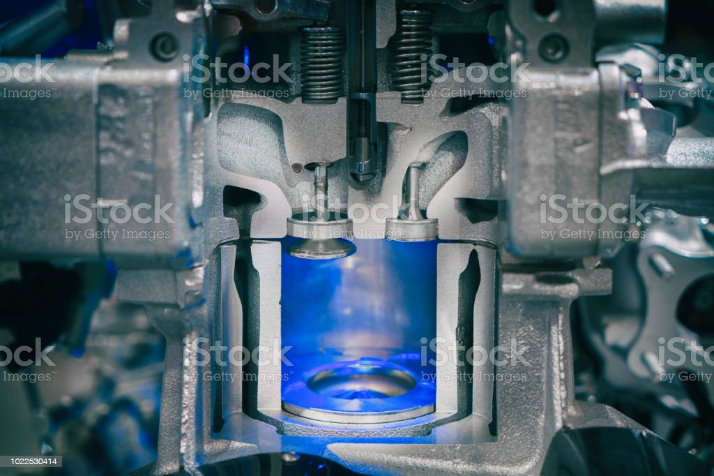 Piston diesel engine at cross section in car. Close up at piston. stock photo