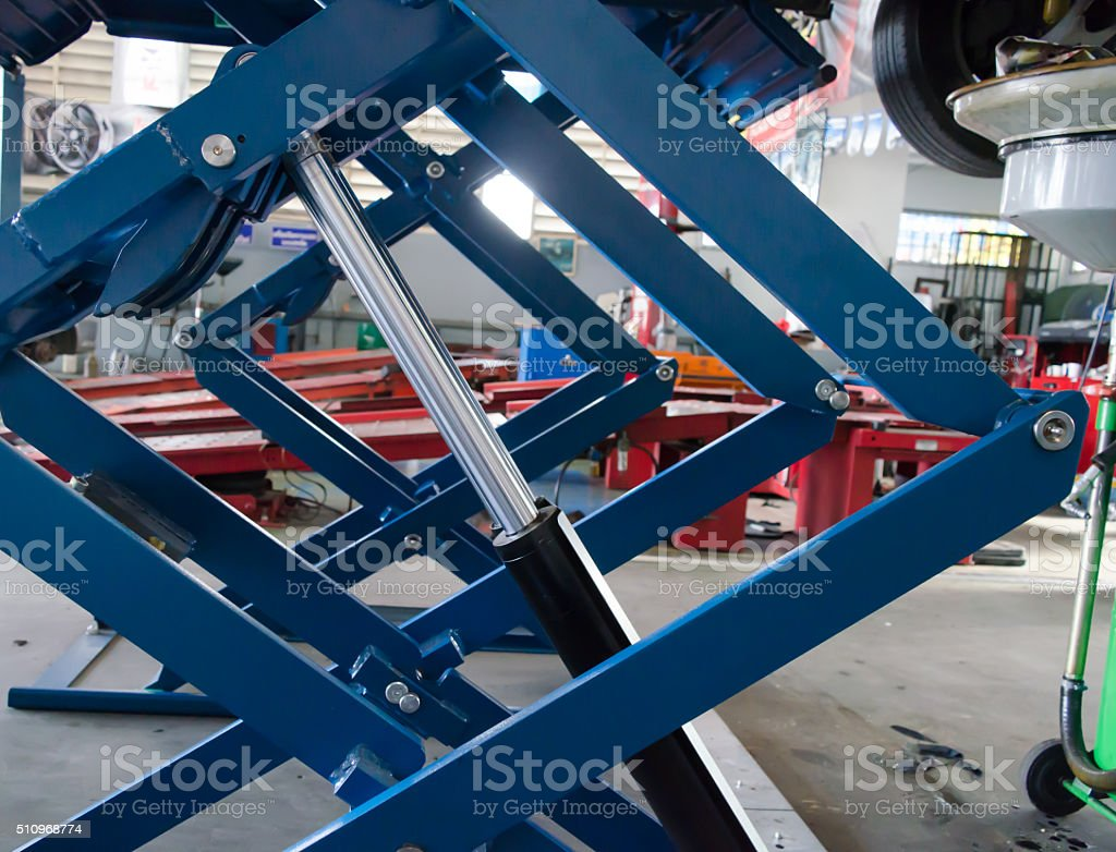 Piston of lift stock photo
