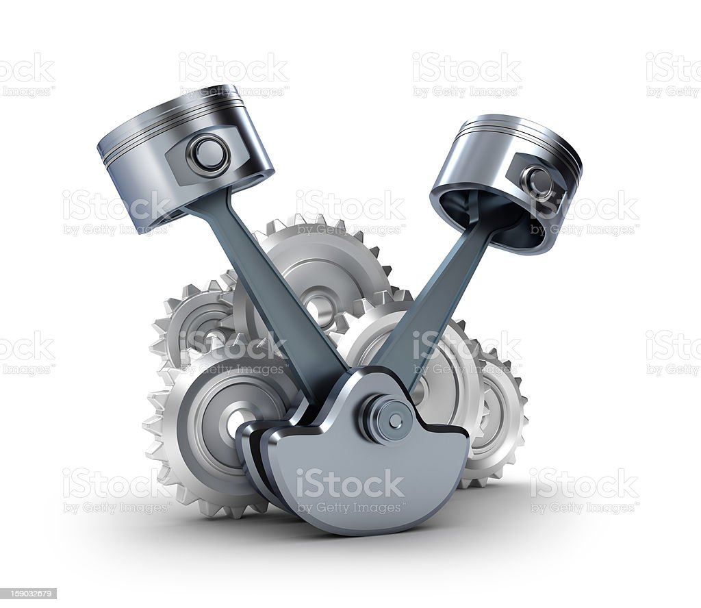 Pistons and gears, isolated 3d icon royalty-free stock photo