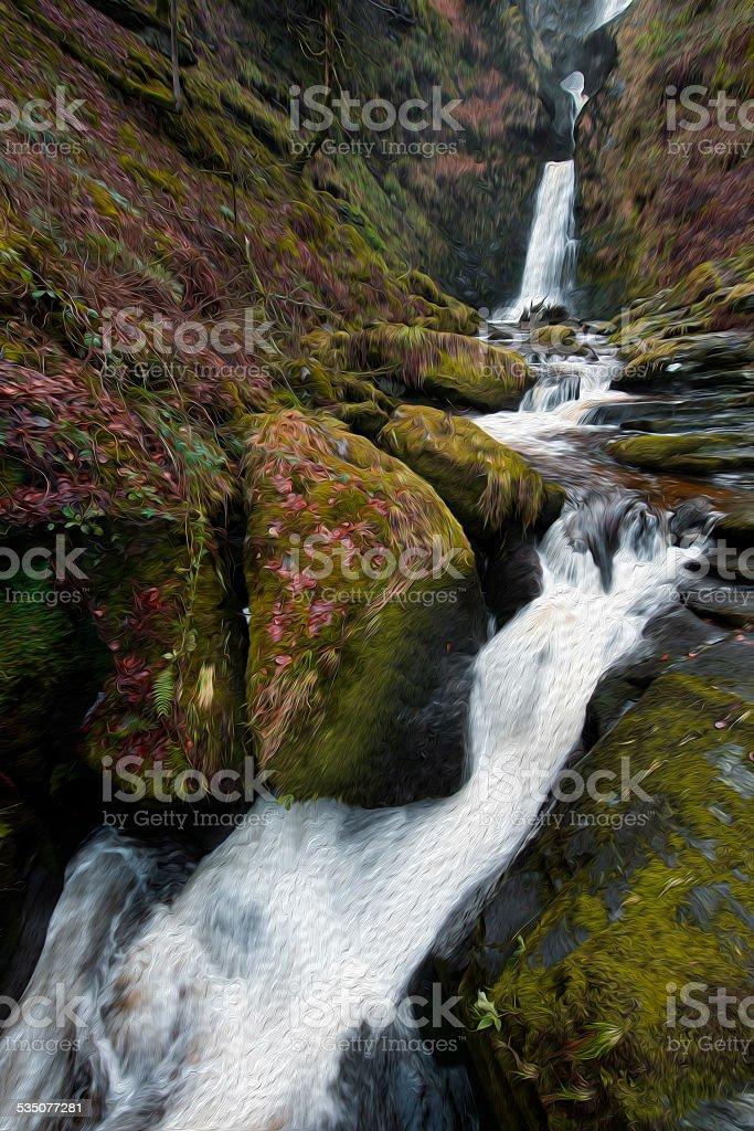 Pistyll Rhaeadr, Wales Oil Painting stock photo