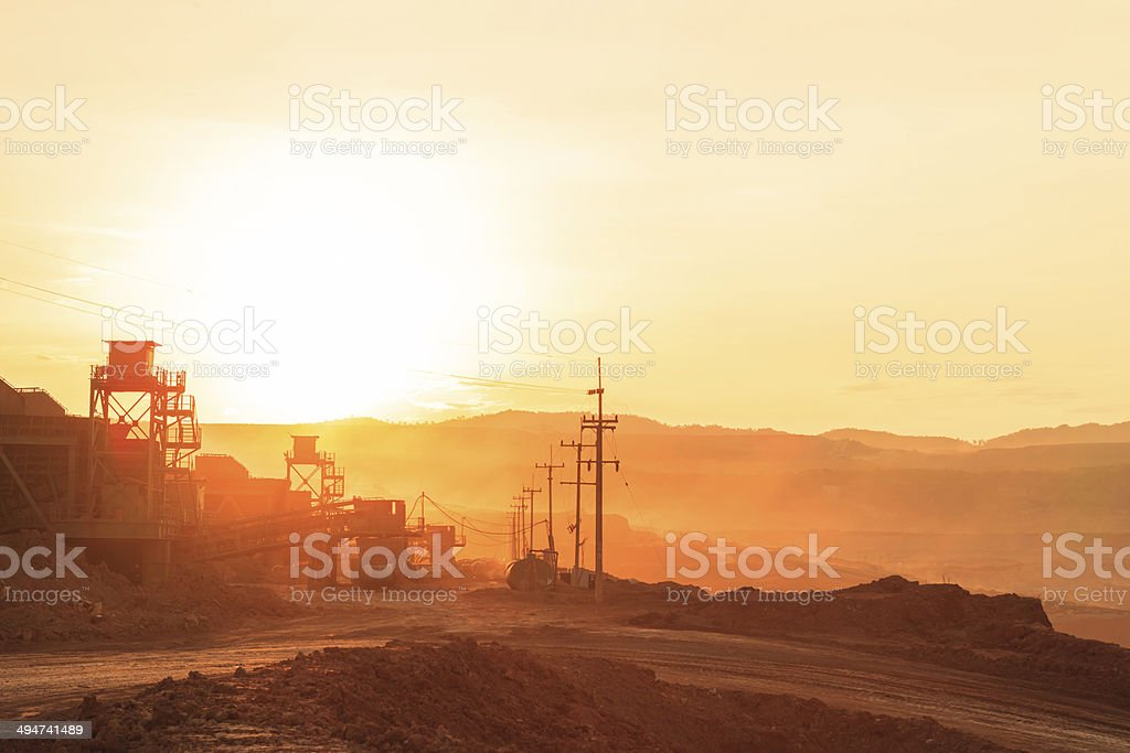 Pit in Sunset stock photo